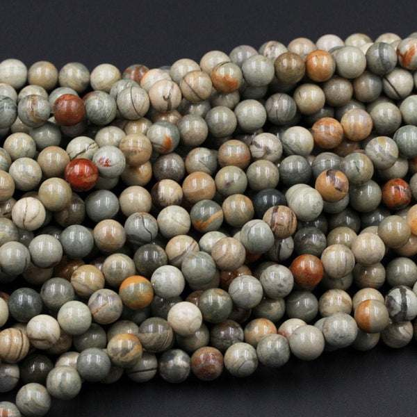 "Natural Silver Leaf Jasper Round Beads 6mm Round 8mm Round 10mm Round Beads Earthy Tone Colors Full 16"" Strand"