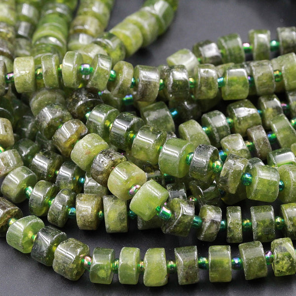 "Chunky Natural Green Garnet Thick Rondelle Wheel Disc Short Cylinder Beads High Quality Juicy Green Gemtone Beads 16"" Strand"