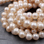 "Large Soft Pastel Peach Pearls Genuine Natural Freshwater Pearl 10mm Round Shimmery Pearl 16"" Strand"