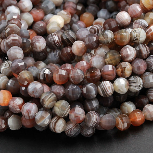 "Lantern Faceted Natural Botswana Agate 10mm Round Beads Sparkling Dazzling Facets Superior A Grade Good For Earring Pair Beads 16"" Strand"