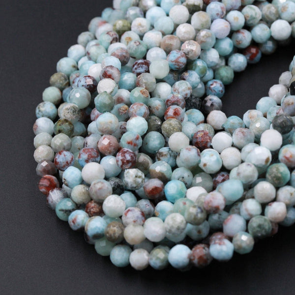 "Natural Larimar Faceted 3mm 4mm 5mm 6mm Round Beads Laser Diamond Cut Genuine Natural Blue Larimar Red Iron Matrix Gemstone 16"" Strand"