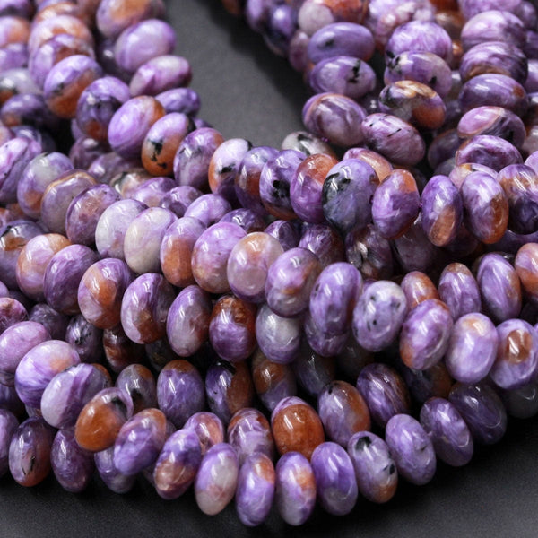 "Natural Charoite Rondelle Beads High Quality Purple Russian Charoite Orange Garnet 8mm Rondelle beads Natural Purple Gemstone 16"" Strand"