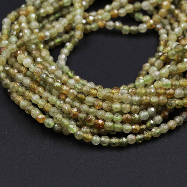 "Micro Faceted Natural Green Garnet Faceted Round Beads 3mm Faceted Round Beads Laser Diamond Cut Gemstone 16"" Strand"