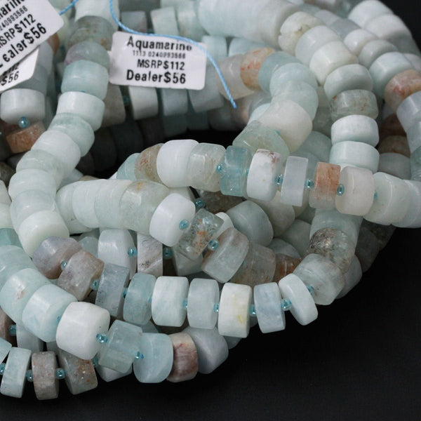 "Matte Finish Natural Blue Aquamarine Beads Large Wheel Rondelle Genuine Real Aquamarine Gemstone High Quality Designer Beads Full 16"" Strand"