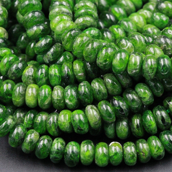 "Natural Chrome Diopside 7mm 8mm Beads Smooth Rondelle Real Genuine Green Chrome Diopside Gemstone 16"" Strand"