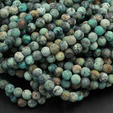 "Natural African Turquoise 4mm Matte Round 6mm Matte Round 8mm Matte Round 10mm Matte Round 12mm Round Matte Finish Round Beads  16"" Strand"