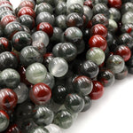 "Natural African Bloodstone 4mm Round Beads 6mm Round Beads 8mm Round Beads 10mm Round Beads Polished 16"" Strand"