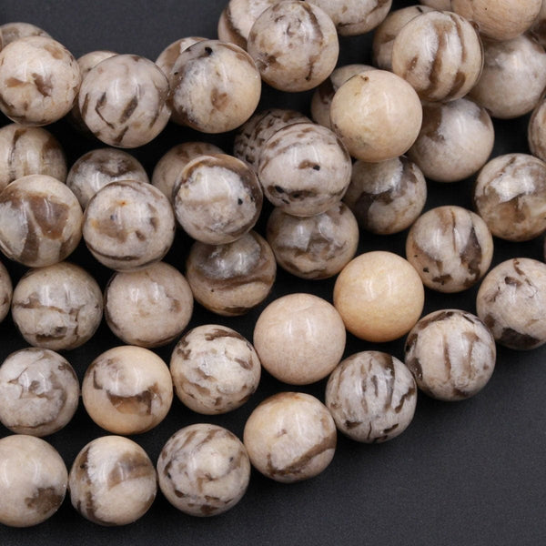 "Natural Graphic Feldspar Smooth Plain 6mm 8mm 10mm Round Beads Earth Tones Beads 16"" Strand"
