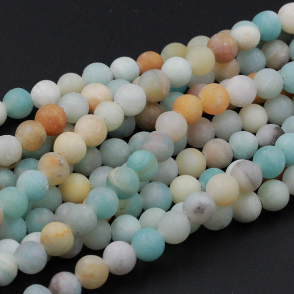 "Large Hole Beads Natural Multicolor Amazonite 8mm Matte Round Beads 10mm Matte Round Beads Big 2.5mm Hole 8"" Strand"