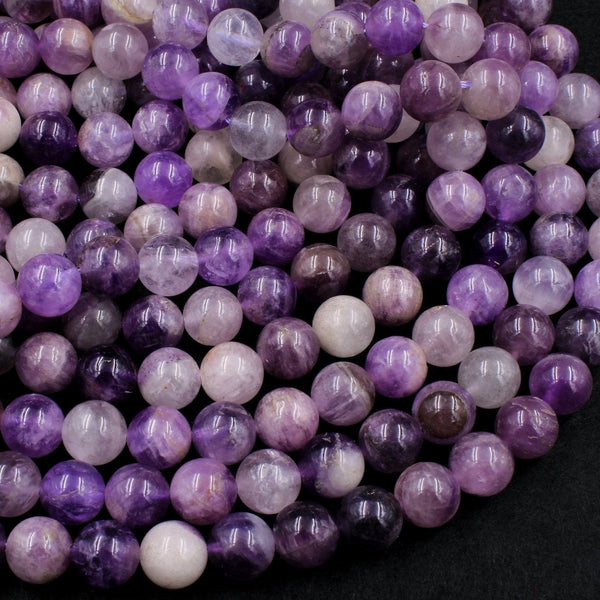 "Natural Chevron Amethyst 10mm Round Beads Natural Purple White Amethyst Aka Flower Amethyst 16"" Strand"