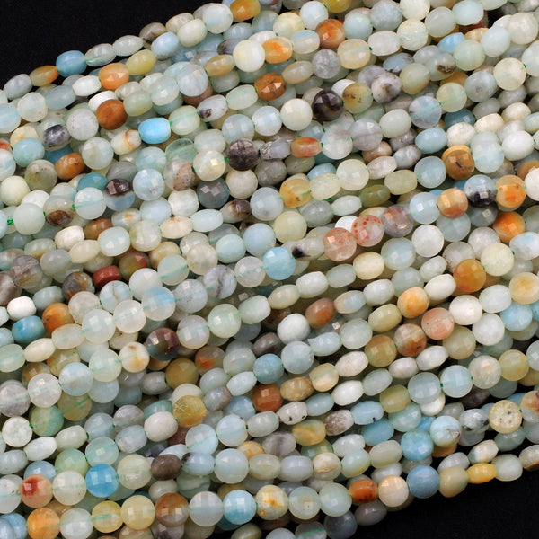 "Natural Amazonite Faceted 6mm Coin Beads Dazzling Facets 16"" Strand"