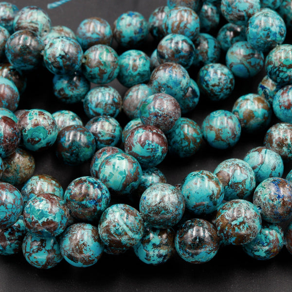 "Rare Natural Shattuckite 10mm Beads Round Blue Azurite Chrysocolla Gemstone From Arizona 16"" Strand"
