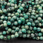 "African Turquoise 6mm 8mm Round Beads High Quality AA Grade Natural Turquoise Gemstone Lots of Blues Greens 16"" Strand"