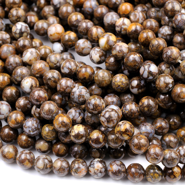 "Natural African Lace Opal Round Beads 6mm 8mm 10mm Earthy Brown Gemstone Opal Beads 16"" Strand"