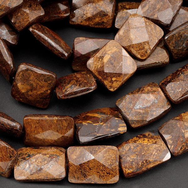 "Natural Bronzite Beads Large Faceted Rectangle 18mm x 13mm Nugget 16"" Strand"
