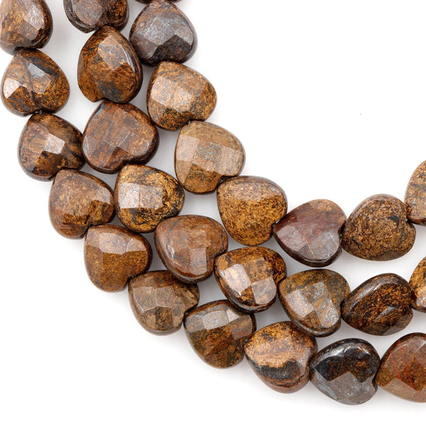 "Natural Bronzite Beads Faceted Heart Vertically Drilled 12mm Good for Earrings High Quality A Grade 16"" Strand"