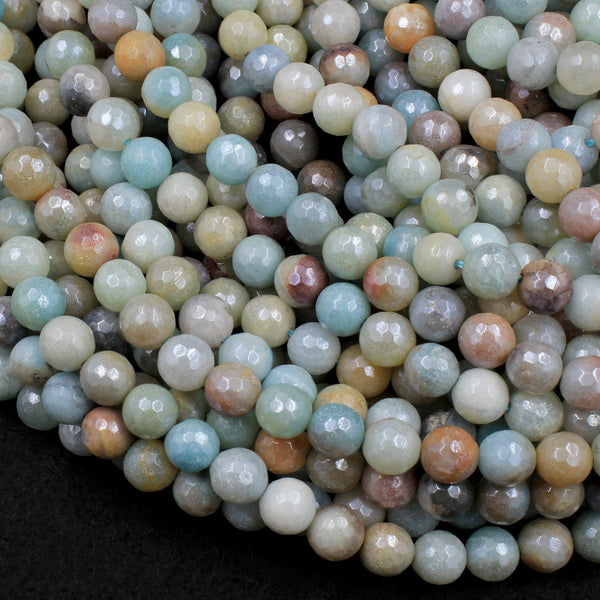 "Mystic Amazonite Faceted 6mm 8mm 10mm Round Beads Plated Silverite AB Coated Natural Gemstone 16"" Strand"