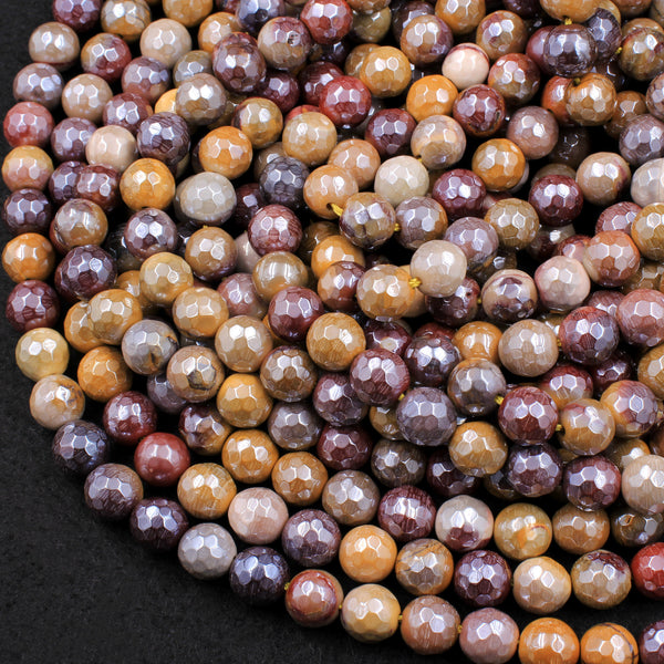 "Mystic Mookaite Faceted 6mm 8mm 10mm Round Beads Plated Silverite AB Coated Natural Gemstone 16"" Strand"