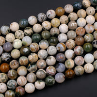 "Natural Ocean Jasper Round Beads 16mm High Quality Smooth Polish Rich Autumn Color Earthy Green Creamy White Red Brown Gemstone 16"" Strand"