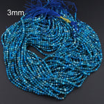 "Micro Faceted Tiny Small Natural Blue Apatite Round Beads 2mm Faceted 3mm Faceted Round Beads Laser Diamond Cut Gemstone 16"" Strand"