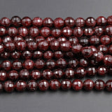 "AAA Natural Red Garnet Gemstone Beads Faceted 6mm 8mm Round Beads High Quality Laser Diamond Cut Gemstone 16"" Strand"