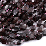 "Natural Red Garnet Gemstone Oval Faceted 18mm High Quality Laser Diamond Cut Gemstone 16"" Strand"