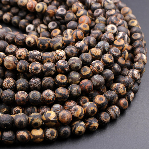 "Tibetan Agate 8mm Round Beads Dzi Agate Dark Brown Black Eye Matte Mala Antique Boho Beads 16"" Strand"