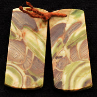 Natural Mushroom Rhyolite Jasper Earring Pair Flat Rectangle Cabochon Cab Pair Drilled Matched Gemstone Bead Pair