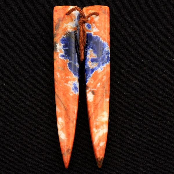 Natural Orange Sodalite Earring Pair Dagger Cabochon Cab Drilled Matched Earrings Bead Pair Natural Vibrant Blue Orange Stone