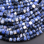 "Stunning Natural Snow Mountain Blue Sodalite Nugget Faceted Wheel Rondelle Heishi Tube 9x6mm Beads 16"" Strand"