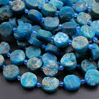 "Matte Raw Rough Natural Blue Apatite Coin Beads Flat Round Disc Circle Druzy Earthy Organic Cut 16"" Strand"