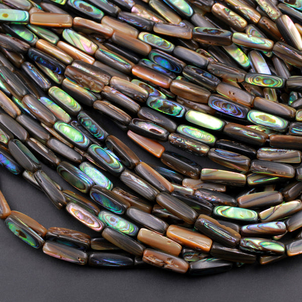 "Long Thin Abalone Tube Rectangle Beads Iridescent Rainbow Glow Blue Green Irridescent A Grade Real Genuine Natural Abalone 16"" Strand"