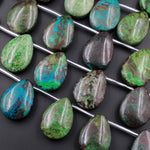 "Natural Parrot Wing Chrysocolla Teardrop Pendant Large Side Drilled Focal Beads 16"" Strand"