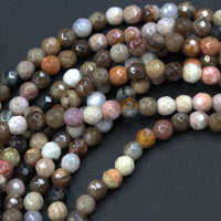 "Natural Petrified Wood Fossil Beads 4mm Round Beads Beige Gray Pink Brown Smoky Earthy Natural Stone Beads 16"" Strand"
