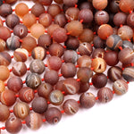 "Matte Natural Red Druzy Agate 8mm 10mm 12mm 14mm Round Beads With Sparkling White Quartz Druzy Crystal Cave 16"" Strand"