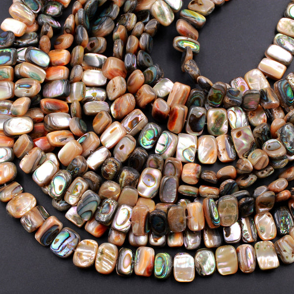 "Natural Orange Abalone Rectangle Beads Center Drilled Iridescent Rainbow Glow A Grade Real Genuine Natural Abalone 16"" Strand"