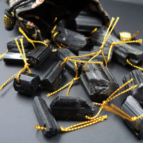 Drilled Natural Black Tourmaline Pendant Natural Organic Crystal Point Black Tourmaline Gemstone Power Stone High Energy Stone Pendant