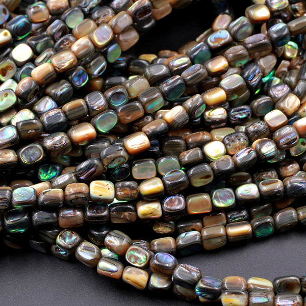 "Small Abalone Cube Dice Beads 5mm Iridescent Rainbow Glow Blue Green Iridescent A Grade Real Genuine Natural Abalone 16"" Strand"