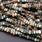 "Abalone Rectangle Nugget Beads 8x6mm Iridescent Rainbow Glow Blue Green Iridescent A Grade Real Genuine Natural Abalone 16"" Strand"