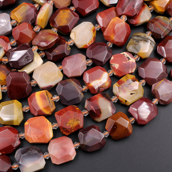 "Natural Australian Mookaite Beads Faceted Square 15mm Cushion Octagon Natural Sunset Colors Red Yellow Maroon Beige 16"" Strand"