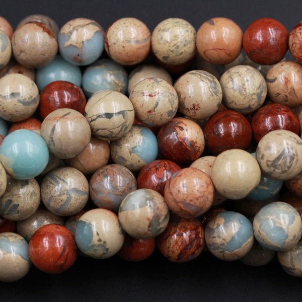 "Genuine Natural Snake Skin Jasper 6mm 8mm 10mm Plain Polished Round Beads Earthy Blue Rusty Red Brown Tan Stone Aka African Opal 16"" Strand"