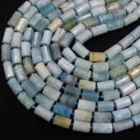 "Faceted Natural Aquamarine Cylinder Tube Beads High Quality Blue Green Aquamarine Gemstone Full 16"" Strand"