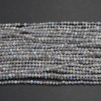 "A Grade Micro Faceted Natural Labradorite 2mm Round Beads 3mm Round Beads 4mm  5mm Round Beads Small Faceted Gemstone Beads 16"" Strand"
