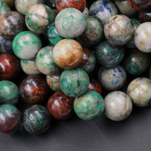 "Natural Sonora Sunrise Beads 4mm 6mm 8mm 10mm AKA Real Natural Chrysocolla Cuprite Beads Sonora Sunset Beads 16"" Strand"