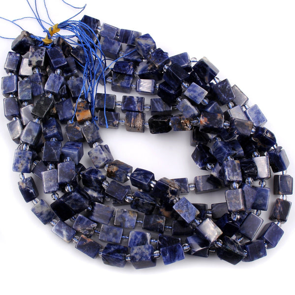 "Chunky Natural Orange Sodalite Tube Cube Dice Square Rectangle Beads 16"" Strand"