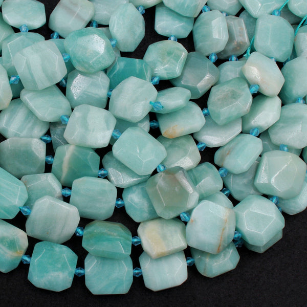 "Natural Amazonite Beads Large Faceted Hexagon Octagon Square Cushion Slice High Quality Designer Quality Sea Blue Green Stone 16"" Strand"