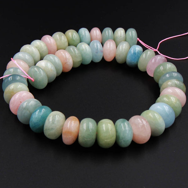 "Large Highly Polished Natural Beryl 16mm Rondelle Beads Blue Aquamarine Green Aquamarine Pink Morgonite Peach Morganite 16"" Strand"