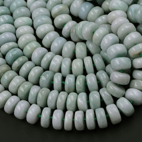 "Natural Burmese Jade 14mm  Rondelle Wheel Beads Large Chunky Center Drilled Disc Icy Genuine Green Burma Jade Gemstone Beads 16"" Strand"