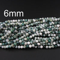 "A Grade Natural Green Tree Agate 4mm 6mm 8mm 10mm Round Beads Organic 100% Natural Gemstone 16"" Strand"