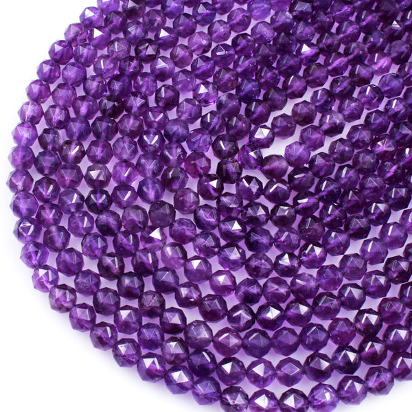 "AA Gem Quality Geometric Cut Diamond Star Cut Genuine 100% Natural Amethyst Faceted 8mm Round Beads Nugget Purple Gemstone 16"" Strand"